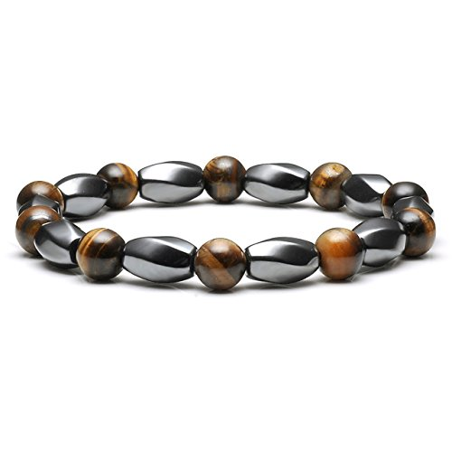 Jovivi Magnetic Hematite Bracelet Natural Tiger Eye Stone & Hematite Therapy Healing Energy Chakra Beaded Stretch Bracelet for Men Women Pain Relief,Fathers Day Gifts (Magnetic Beaded Bracelets Therapy)