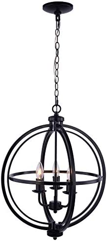 Pendant Ceiling Light Fixture Modern Sphere Orb Globe Chandelier, Chrome Finish 3 Lights 17 Bronze