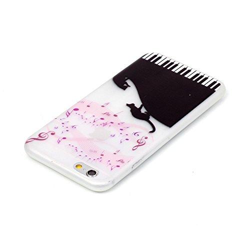 Voguecase® für Apple iPhone 5 5G 5S, Schutzhülle / Case / Cover / Hülle / TPU Gel Skin mit Nachtleuchtende Funktion (Klavier/Katze) + Gratis Universal Eingabestift