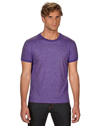 Anvil Lightweight Ringer T-Shirt, Medium, H PURPLE TR PUR