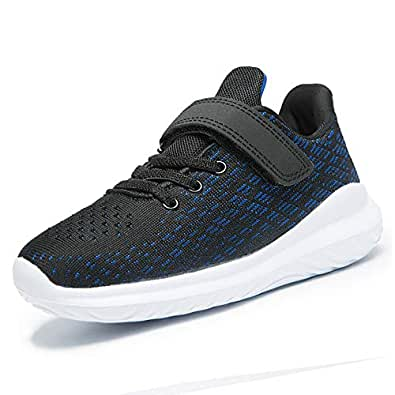 ALLY BELLY Kids Sneakers Tennis Shoes Running for Boys Lightweight Athletic Walking Shoes(1 Little Kid, Black/Blue)