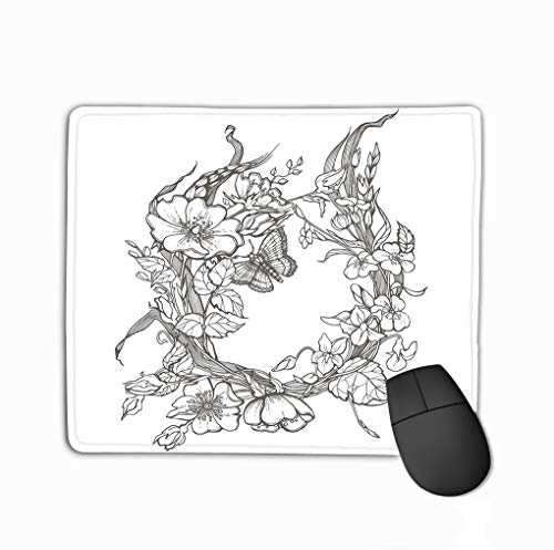 (Gaming Mouse Pad Oblong Shaped Mouse Mat 11.81 X 9.84 Inch Wild Dog Rose Flowers Frame Contour Ink Adult Coloring Page Drawing Clipart White Background Butterfly Psychedelic)