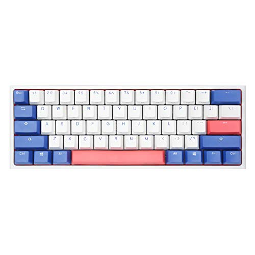 Ducky One 2 Bon Voyage Edition, All Non-conflicting 61Keys, Cherry MX Brown Mechanical White Backlit Gaming Keyboard, PBT Keycaps (Cherry MX Brown)