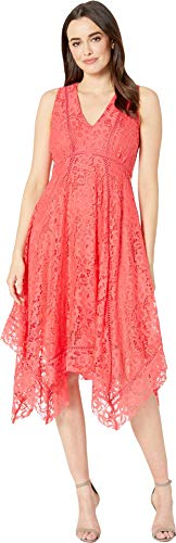 (Taylor Dresses Women's Sleeveless Hankerchief Hem Lace Dress, Peony 10)