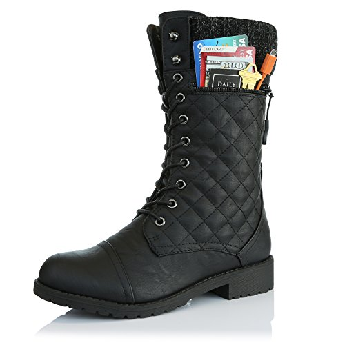 DailyShoes Women's Combat Style Lace up Ankle Bootie Quilted Military Knit Credit Card Knife Money Wallet Pocket Boots, Black Pu, 5 Chunky Knit Boot