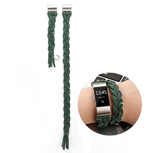 Adjustable Handmade Woven Leather Breathable Replacement Sport Strap Small Large Bands Bracelet with Decoration Bead for Fitbit Charge 2 Smart Watch for Women and Men (Army (Army Band Bracelet)