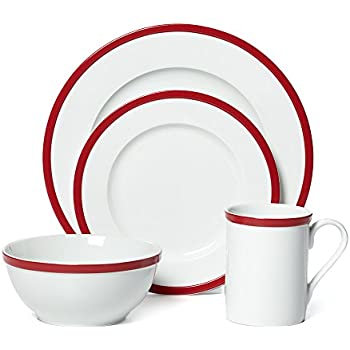 Guy Fieri 16-Piece Bistro Dinnerware Set Red Service for 4  sc 1 st  Amazon.com & Amazon.com | Gorham Bistro Dinner Set - Blue: Dinnerware Sets
