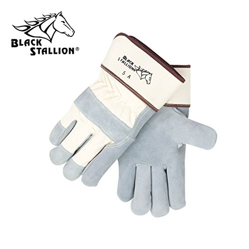REVCO BLACK STALLION - 5A SIDE SPLIT COWHIDE -- STRAP BACK PREMIUM LEATHER PALM WORK GLOVES - SIZE: LARGE - CASE OF: 60 PAIR (Palm Side Case)