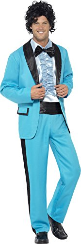 80's Theme Party Mens Costume (Smiffy's Men's 80's Prom King Costume, Multi, Large)