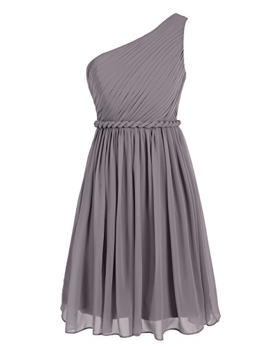 Wedtrend Women's Short Homecoming Dress One-shoulder Bridesmaid Dress WT12065Grey16