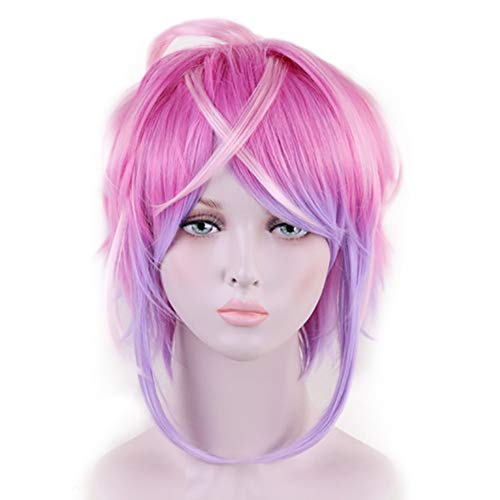 Anogol Free Hair Cap+Pink Wigs for Women Short Wavy Wig Ombre Purple Wig for Japanese Anime Wig