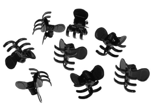 L. Erickson Clip & Go Mini Metal Jaw Hair Clips, Black, Set of 8 - Strong Hold For Easy Styling Solutions (Metal Clips Black)