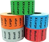 1.25 x 5 Color Coded Clothing Size Strip Wrap Around Adhesive Labels for Retail Apparel - Bulk Pack - Grey Small, Red Medium, Orange Large, Blue X-Large, Green XX-Large