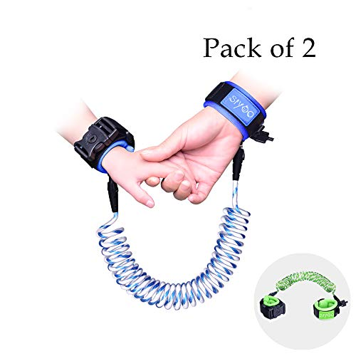 Reflective Anti Lost Wrist Link with Child Lock, Siyoo Toddler Child Harness Leash for Outdoor Activities, Shopping, Pack of 2 (4.92ft Green & 8.2ft Blue)