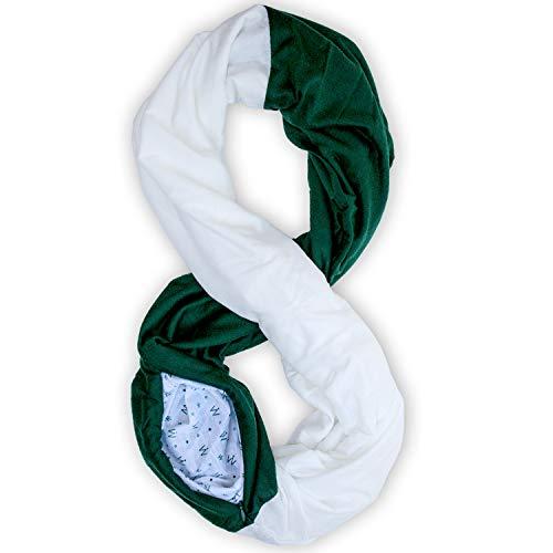 Stadium Series Scarf by WAYPOINT GOODS // Infinity Scarf w/Secret Hidden Zipper Pocket (Green & White)