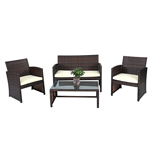 Outdoor Furniture Set 4 Pcs. Rattan Wicker Patio Set Garden Lawn (Sale For Wicker Cape Patio Furniture Town)