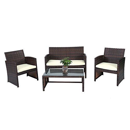 Outdoor Furniture Set 4 Pcs. Rattan Wicker Patio Set Garden Lawn (Wicker Town Furniture For Sale Cape Patio)