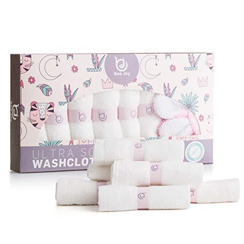 Bee Joy Baby Washcloths: 6 Ultra Soft 100% Organic Bamboo + Eco Friendly Bath Sponge HYPOALLERGANICE Face Towels Extra-Absorbent 10X10 Newborn Towel for Boys & Girls Best Baby Shower Gift