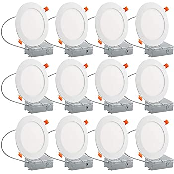 Image of Home and Kitchen 12PK 12W 6' Ultra-Thin Recessed Low Profile Slim Panel Light with Junction Box, 100W Equivalent Dimmable Airtight Downlight, 950lm 5000K Daylight White, ETL-Listed, 12 Pack