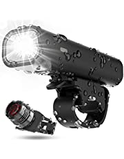 Updated Version Bike Light Set, TEMINICE USB Rechargeable Waterproof Runtime 8+ Hours 400 Lumen Super Bright Headlight Front Lights and Back Rear LED, 4 Light Mode Fits All Bicycles, Mountain, Road