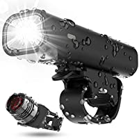 TEMINICE USB Rechargeable Bike Light Set, Runtime 8+ Hours 400 Lumen Super Bright Headlight Front Lights and Back Rear...