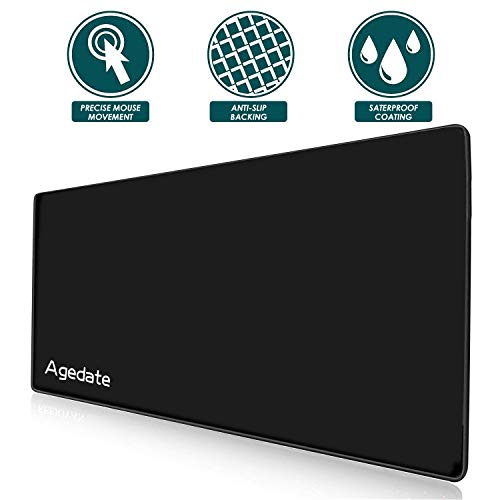 Agedate Gaming Mouse Pad, Large Extended Mousepad 35x16-Inch 4mm Thick XXL Mouse Pad/Mat Waterproof Durable Stitched Edges, Ultra Smooth Surface, Anti-Slip Rubber Base Mats Best for Laptop Computer/PC by Agedate