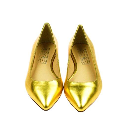 EYE Damen Ballerinas Halbschuh Leder Gold