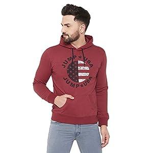 Jump USA Men Self Design Cotton Casual Hooded Sweatshirt | Winter Wear | Pullovers