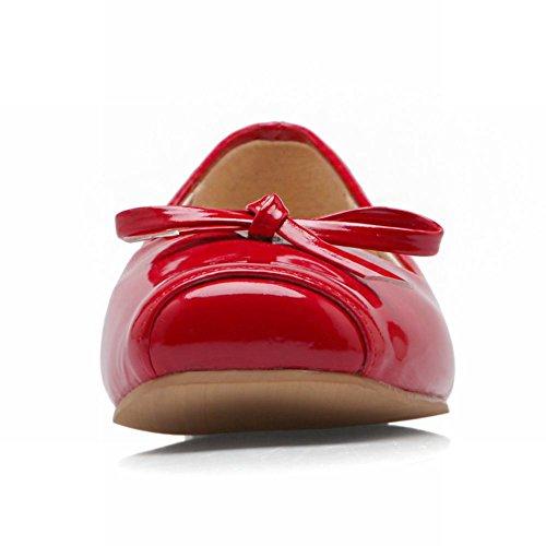 Latasa Kvinna Mode Båge Fyrkantig Tå Balett Lägenheter Rött