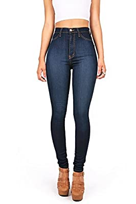 Ferbia Womens Juniors Classic High Waisted Denim Skinny Jeans Pencil Pants