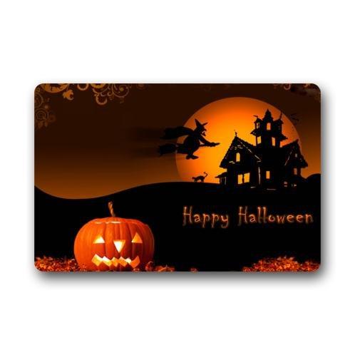 Stylish Special Design Happy Halloween Pumpkin Pattern Print Durable Non-Woven Fabric Top Indoor/Outdoor Doormats 23.6