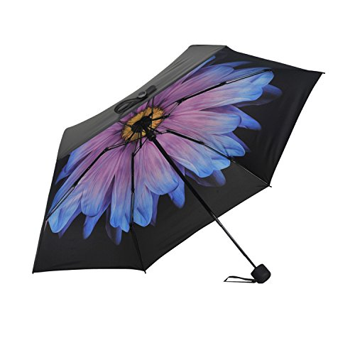 Travel Compact Umbrella Windproof Mini Sun & Rain Umbrella Ultra Light Parasol - Fits Men & Women, Gift Choice (Ver 2.- Purple Daisy)