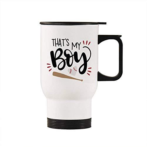 Thats My Boy Travel Mug Insulated Tumbler Coffee Mug Novelty Mug Cup Birthday Christmas Anniversary Gag Gifts Idea, 14 Oz, White