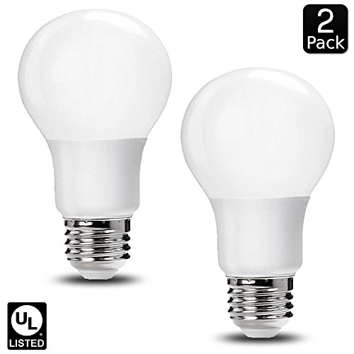 Luxrite LR21393 (2-Pack) 9W LED A19 Light Bulb, 60W Equivalent, Non-Dimmable, Cool White 4000K, E26 Base, UL-Listed