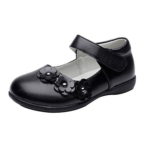 Chiximaxu Maxu Little Girl Black Uniform Oxford Flat Shoes with Flower,Little Kid Size 12