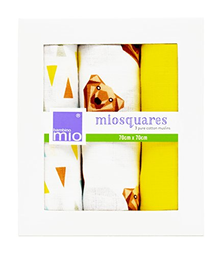 Bambino Mio, Miosquares (Muslin Squares) 27.5 in x 27.5 in, Grizzly, 3 Pack