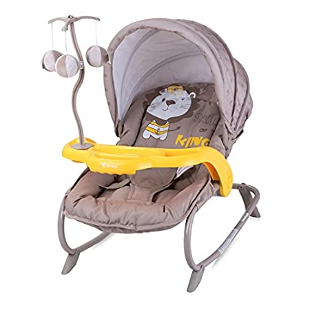 Baby Infant Rocker Bouncer Swing Reclining Chair and Toys 0M+ Different Designs (Pink & Grey Za Za) Lorelli