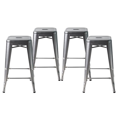 Buschman Set of Four Gray 24 Inches Counter High Tolix-Style Metal Bar Stools, Indoor/Outdoor, Stackable (Bar Stools Bar)