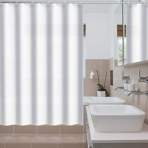 htovila Fabric Shower Curtain with 12 Rustproof Hooks, Polyester Shower Liner for Shower Stall, Bathtubs, Washable, 72 x 73 inches-White