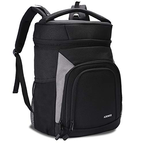 ADRIMER Backpack Cooler Leakproof Insulated Cooler Backpack Soft Lunch Cooler Bag for Men Women to Work, Fishing, Picnics, BBQ, Hiking Hunting or Day Trips, 35L, 26 cans, Black [並行輸入品] B07R4T57R2