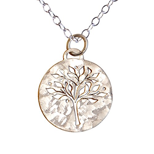 Sterling Silver Tree of Life Necklace, Hammered Round Family Tree for Mom, Mother's Day Gift (Jewelry Pendant Pierced)