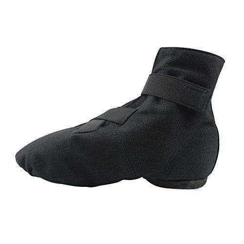Msmax Volwassen Zachte Canvas Laarzen Unisex Dans Flats Zwart