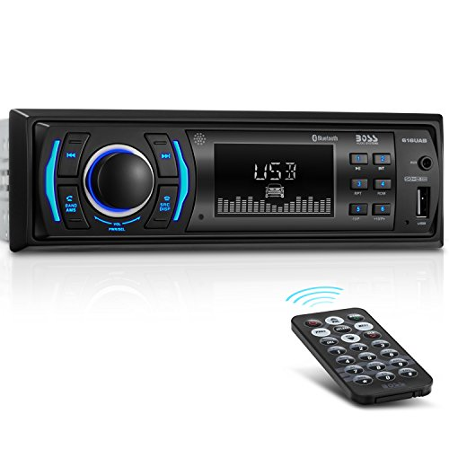 (BOSS Audio 616UAB Multimedia Car Stereo – Single Din LCD, Bluetooth Audio and Calling, Built-in Microphone, MP3 Player, WMA, USB, Auxiliary Input, AM/FM Radio Receiver, Wireless Remote Control)