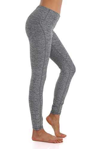 ZEROGSC Women's Yoga Pants - Workout Running Tummy Control Stretch Power Flex Stylish Long/Capris Leggings (YPW107-Charcoal-Large)
