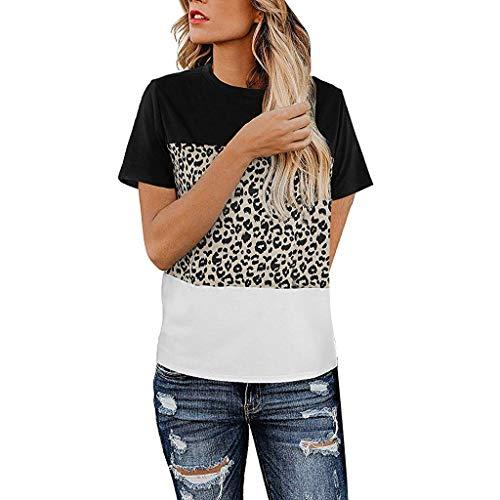 (TUSANG Women Tees Casual Cute Shirts Leopard Print Tops Basic Short Sleeve Soft Blouse Slim Fit Comfy Tunic(Black,US-4/CN-S))