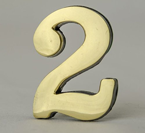 Address Number 2-2 Inch Solid Adhesive Brass Numbers for House, Door, Address Plaque, Mailbox | Satin Metallic Surfaces