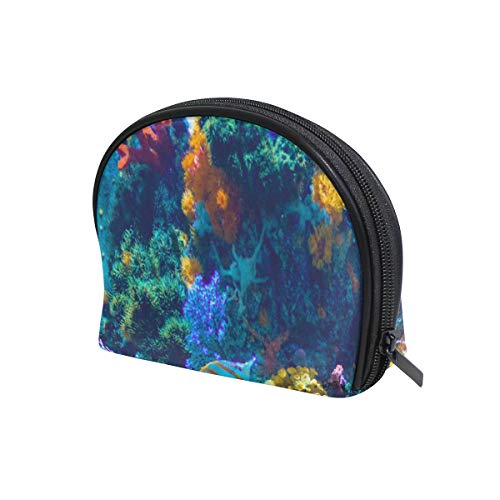 Half Moon Reef - imobaby Underwater World Coral Reefs Half Moon Cosmetic Beauty Bag Travel Handy Organizer for Women Multifunction Toiletry Case Storage Bags