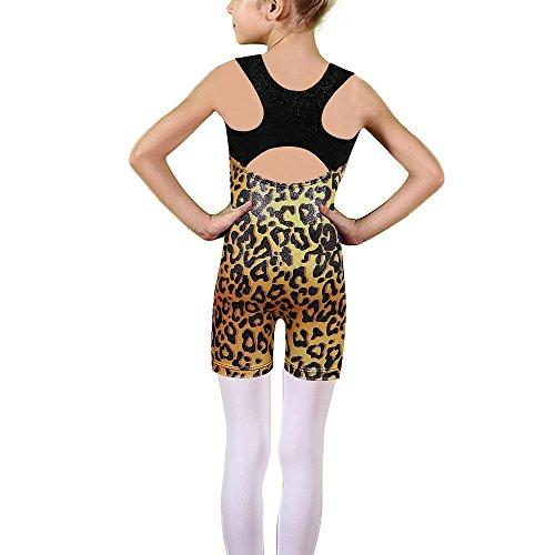 TFJH E Children Sparkle Gymnastics Unitard Ballet Dance Leotard Shiny Dots Gold Leopard 120