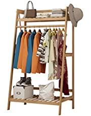 JIAYING Heavy Clothing Garment Rack,Garment Rack, 2-Tier Entryway Bamboo Coat Rack and Shoe Bench Storage Stand for Home Office