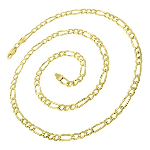 14K Yellow Gold 1.5mm – 8.5mm Solid Figaro Chain, FREE Microfiber Cloth, Link Necklace, Giorgio Bergamo